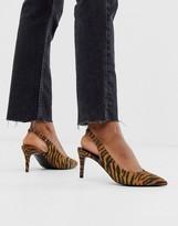 Sebastian Asos Design ASOS DESIGN Slingback Mid Heels in tiger print