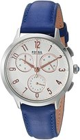 Fossil Women's CH3032 Abilene Stopwatch Chronograph Indigo-Dyed Leather Watch