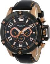 Akribos XXIV Men's AK605RG Conqueror Multi-Function Stainless Steel Swiss Quartz Leather Strap Watch