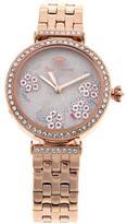 Juicy Couture Rosetone Crystal Bezel Floral Dial Bracelet Watch