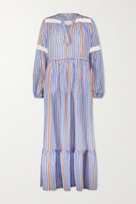 Lemlem Bahiri Crochet-trimmed Striped Linen-blend Maxi Dress - Blue