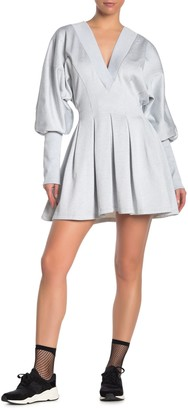 Opening Ceremony Pleated Puff Sleeve Sweatshirt Dress