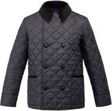 Gloverall Black Quilted Reefer Style Coat