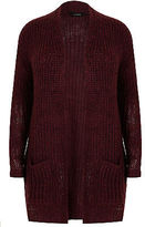 Yours Clothing YoursClothing Plus Size Womens Berry Longline Chunky Knit Cardigan Pockets Red