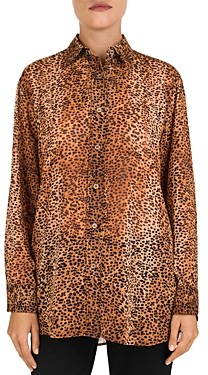 Gerard Darel Mea Animal Print Button-Down Shirt