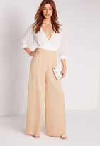 Missguided Satin Wide Leg Pants Nude