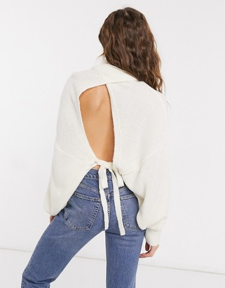 ASOS DESIGN chunky open tie back sweater