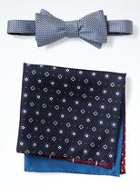 Banana Republic Silk Bow Tie and Pocket Square Set