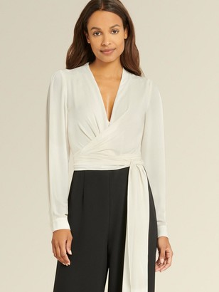 DKNY Long Sleeve Tie Front Jumpsuit