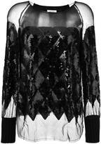 Aviu sequined sheer knit blouse