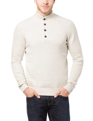 James Tyler Men's Jumper with Button Placket and Concealed Zip