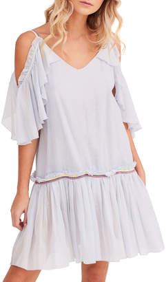 Pitusa Camille Cold-Shoulder Ruffle Short Dress