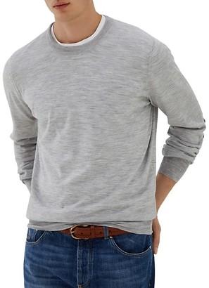 Brunello Cucinelli Fine Gauge Suede Elbow-Patch Sweater