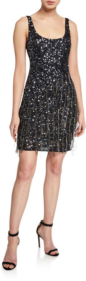 Reena Beaded Scoop-Neck Sleeveless Mini Dress with Fringe Trim