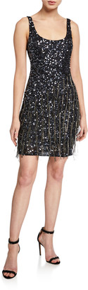 Parker Black Reena Beaded Scoop-Neck Sleeveless Mini Dress with Fringe Trim