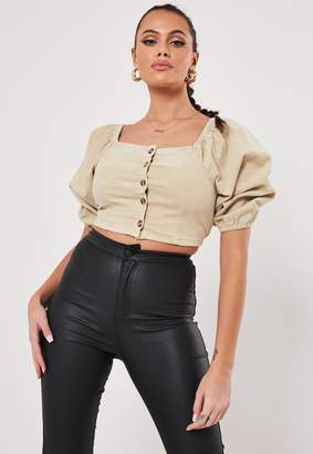 Missguided Nude Cord Balloon Sleeve Crop Top