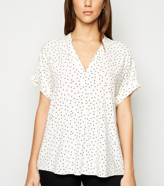 New Look Spot Button Front Short Sleeve Blouse
