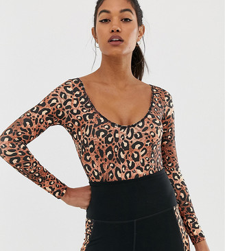 Wolfwhistle Wolf & Whistle Exclusive to ASOS Back Detail Bodysuit In Leopard