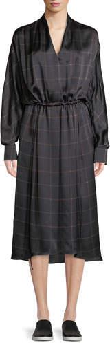 Vince Long-Sleeve Plaid Midi Dress