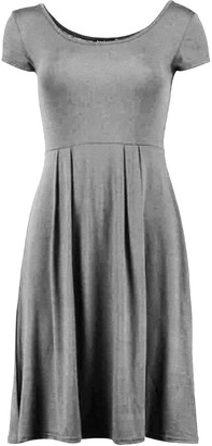Fashion Star Womens Ladies Pleated Cap Sleeve Flared Franki Swing Skater Mini Dress Plus Size Black