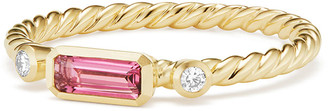 David Yurman Novella 18k Baguette Tourmaline Stack Ring, Size 7