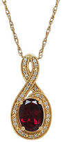 Lord & Taylor Garnet, Diamond and 14K Yellow Gold Pendant Necklace