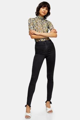 Topshop Womens Tall Washed Black Jagged Hem Joni Jeans - Washed Black