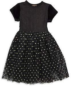 Imoga Little Girl's & Girl's Sparkly Mesh & Faux Fur Dress