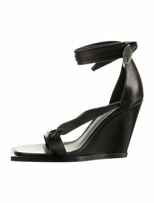 Rick Owens Leather Bow Accents Gladiator Sandals Black