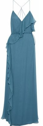Haute Hippie Metamorphosis Ruffled Silk Crepe De Chine Wrap Gown