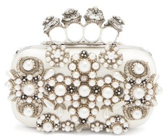 Alexander McQueen Four Ring Embellished Satin Box Clutch - Ivory Multi