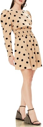 AFRM Violaine Dot Long Sleeve Minidress