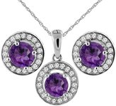 Sabrina Silver 14K White Gold Natural Amethyst Earrings and Pendant Set with Diamond Halo Round 5 mm