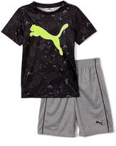 Puma Boys' Active Shorts Black Logo Tee & Gray Shorts - Toddler & Boys