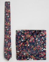 Asos Floral Tie And Pocket Square Pack