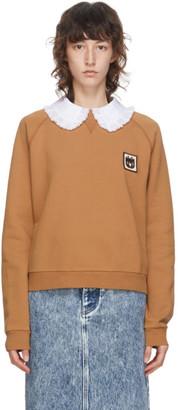Miu Miu Tan Peter Pan Collar Sweatshirt