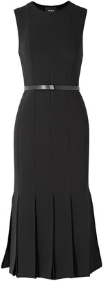 Akris Belted Pleated Wool-blend Midi Dress