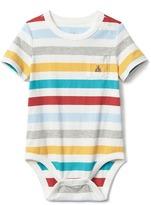 Stripe short sleeve pocket bodysuit