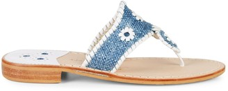 Jack Rogers Raffia & Leather Toe-Thong Flats