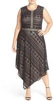 London Times Plus Size Women's Geo Stripe Lace Asymmetrical Hem Dress