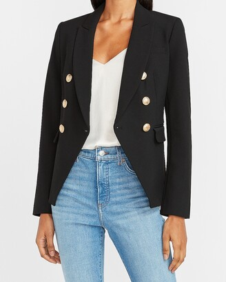 Express Soft & Sleek Double Breasted Novelty Button Blazer