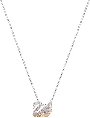 Swarovski Women's Iconic Swan Necklace Finely Cut Stones with a Swan motif and a Rhodium Plated Chain from the Iconic Swan Collection