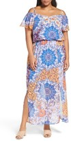 London Times Plus Size Women's Print Cold Shoulder Maxi Dress