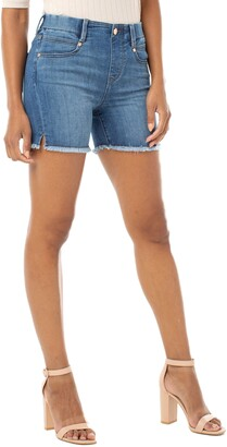 Liverpool Gia Glider Fray Hem Pull-On Denim Shorts
