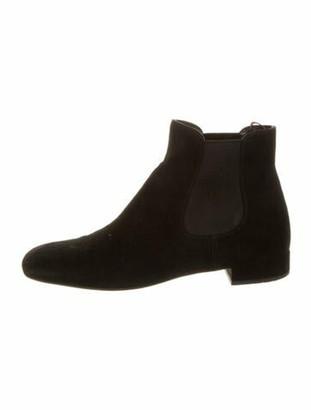 Prada Suede Chelsea Boots Black