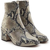 Robert Clergerie Snakeskin Printed Leather Ankle Boots