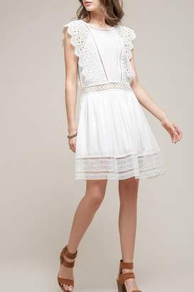 Moon River Lace Trim Babydoll Dress