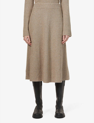 Chinti and Parker Contoured-rib cashmere skirt