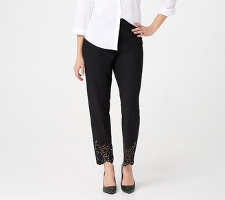 Dennis Basso Petite Luxe Crepe Slim-Leg Pull- On Ankle Pants