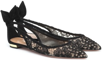 Aquazzura Bow Tie lace and suede ballet flats